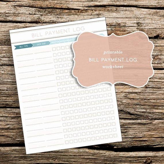 Free Printable Payment Log Lovely Printable Bill Payment Log Worksheet by Trewstudio On Etsy