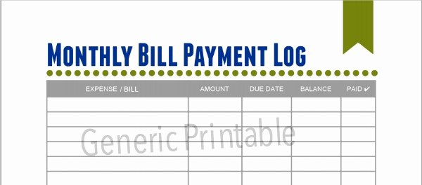 Free Printable Payment Log Luxury Free Monthly Bills & Expense Printables