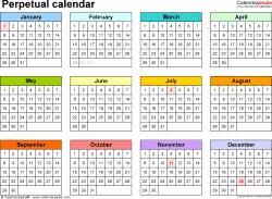 Free Printable Perpetual Calendar Awesome Perpetual Calendars 7 Free Printable Word Templates