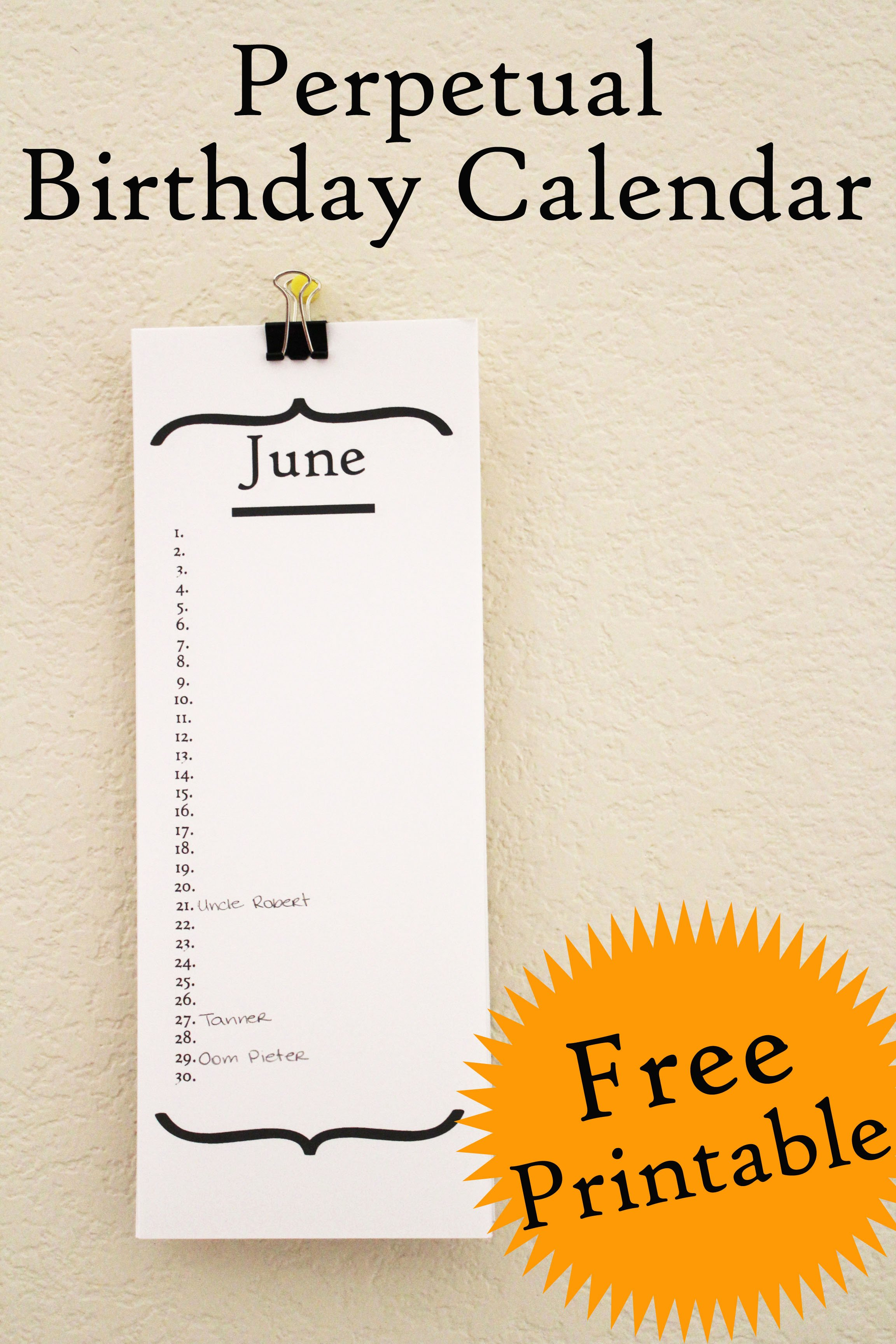 Free Printable Perpetual Calendar Beautiful Free Birthday Calendar Printable 30 Minute Crafts
