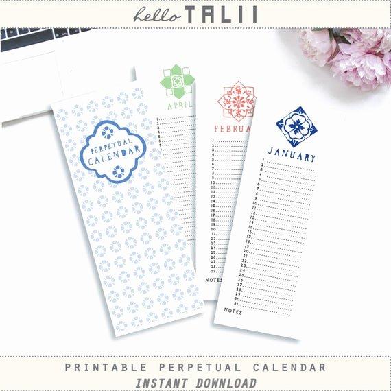 Free Printable Perpetual Calendar New Perpetual Birthday Calendar Printable Calendar Hand Drawn