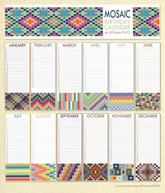 Free Printable Perpetual Calendar Unique Birthday Calendar Perpetual Calendar Printable Mosaic