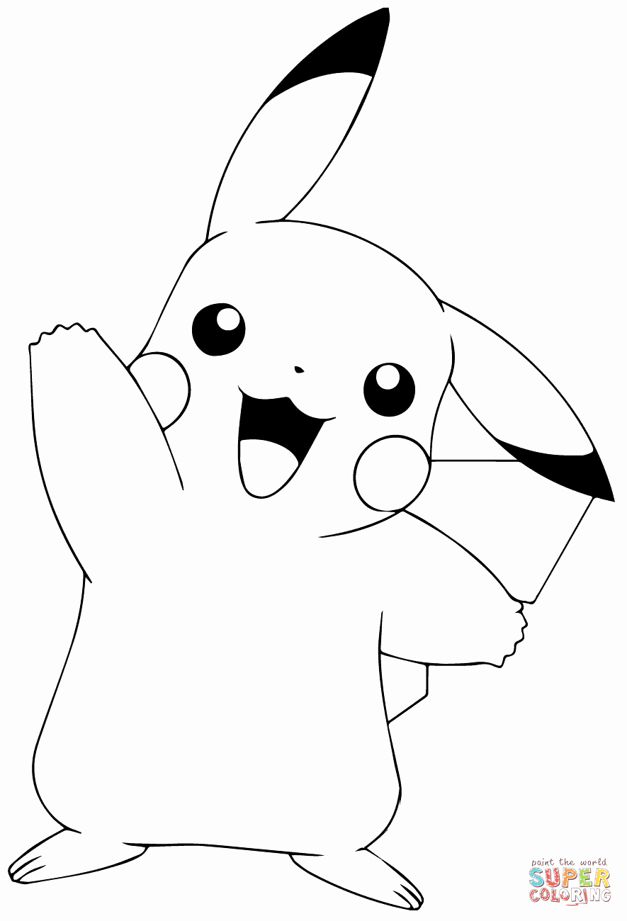 Free Printable Pokemon Pictures Unique Pokémon Go Pikachu Waving Coloring Page