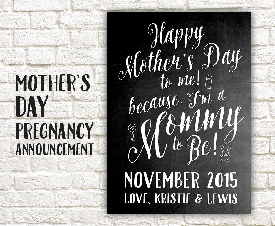 Free Printable Pregnancy Announcements Luxury Mother S Day Pregnancy Announcement Printable Card Sign