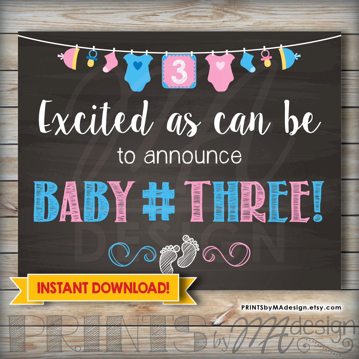 Free Printable Pregnancy Announcements New Baby Number 3 Pregnancy Announcement Printable 8x10 16x20