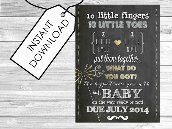Free Printable Pregnancy Announcements New New Years Pregnancy Announcement Printable by