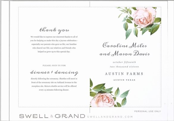 Free Printable Program Templates Elegant Wedding Program Templates – 15 Free Word Pdf Psd