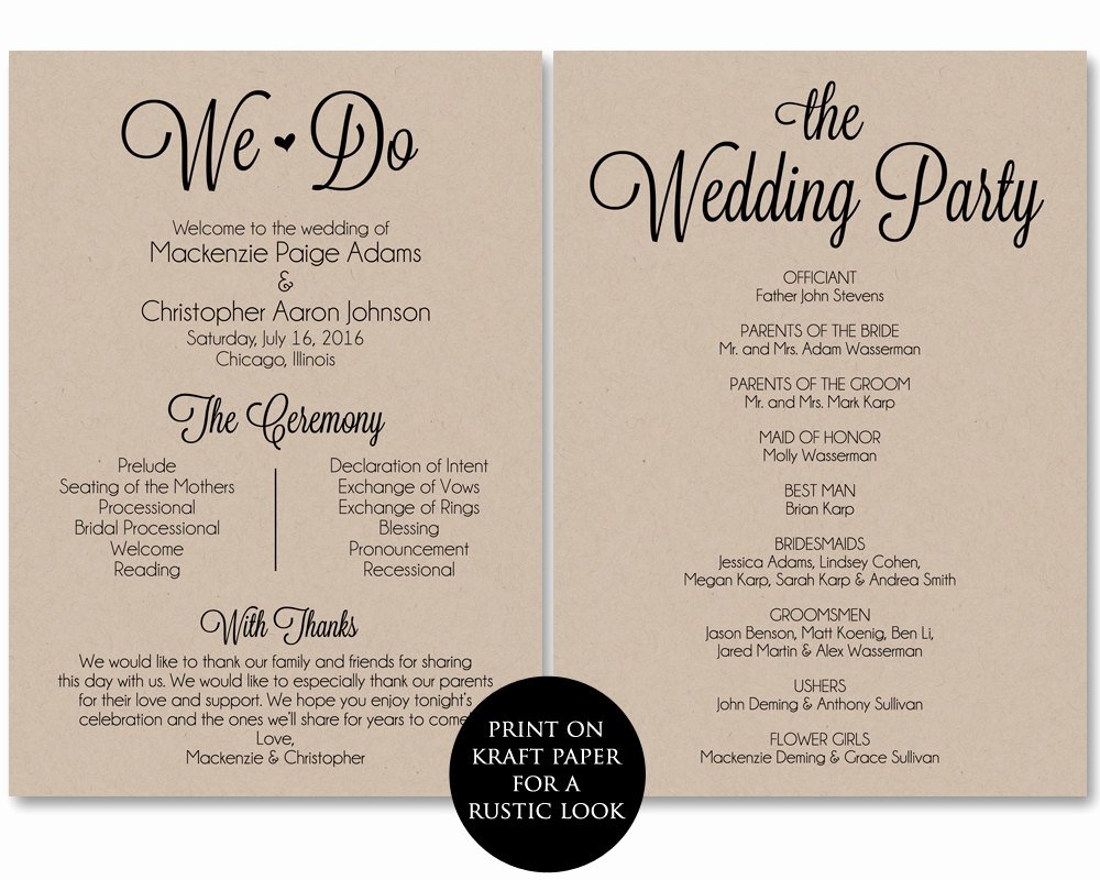 Free Printable Program Templates Inspirational Ceremony Program Template Wedding Program Printable We Do