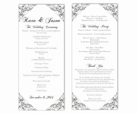 Free Printable Program Templates Inspirational Wedding Program Template Diy Editable Text Word File