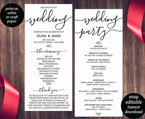Free Printable Program Templates Inspirational Wedding Program Template Printable Wedding Program Wedding