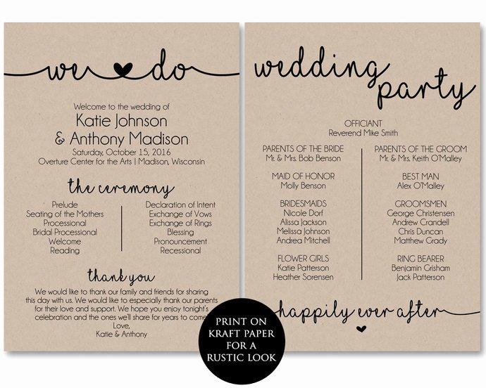 Free Printable Program Templates Unique Ceremony Program Template Printable Wedding