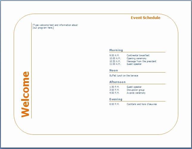 Free Printable Program Templates Unique Generic event Program Template
