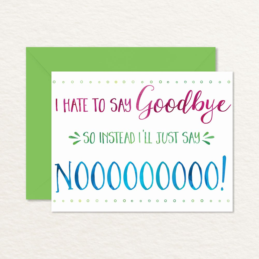 Free Printable Retirement Cards Inspirational Printable Goodbye Card Funny Goodbye Card Printable