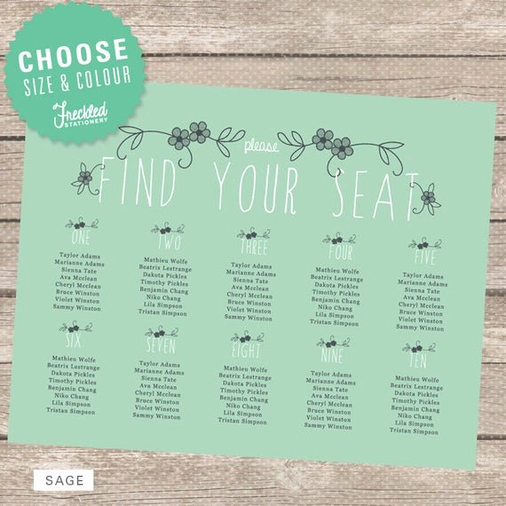 Free Printable Seating Chart Beautiful Items Similar to Wedding Seating Chart Printable Pdf