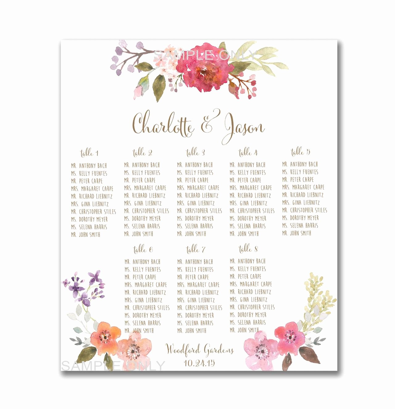 Free Printable Seating Chart Elegant Wedding Table Seating Chart Printable 50 130 Guests