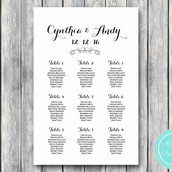 Free Printable Seating Chart Lovely Stylish Wedding Seating Chart Template Printable Wd09