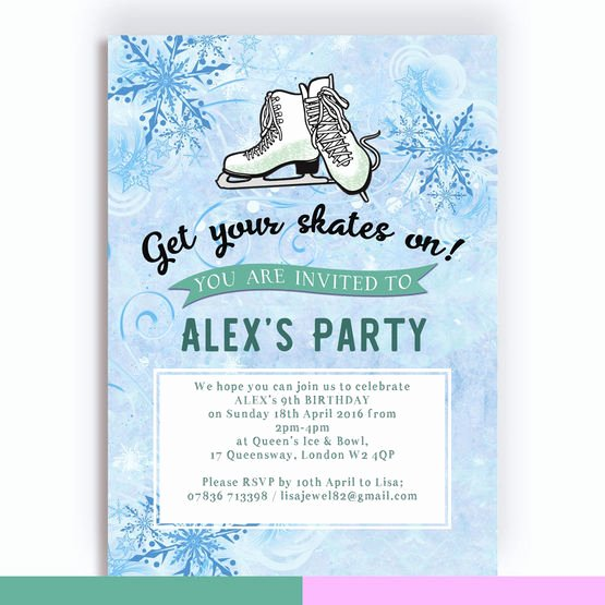 Free Printable Skating Party Invitations Awesome Ice Skating Birthday Party Invitation From £0 80 Each
