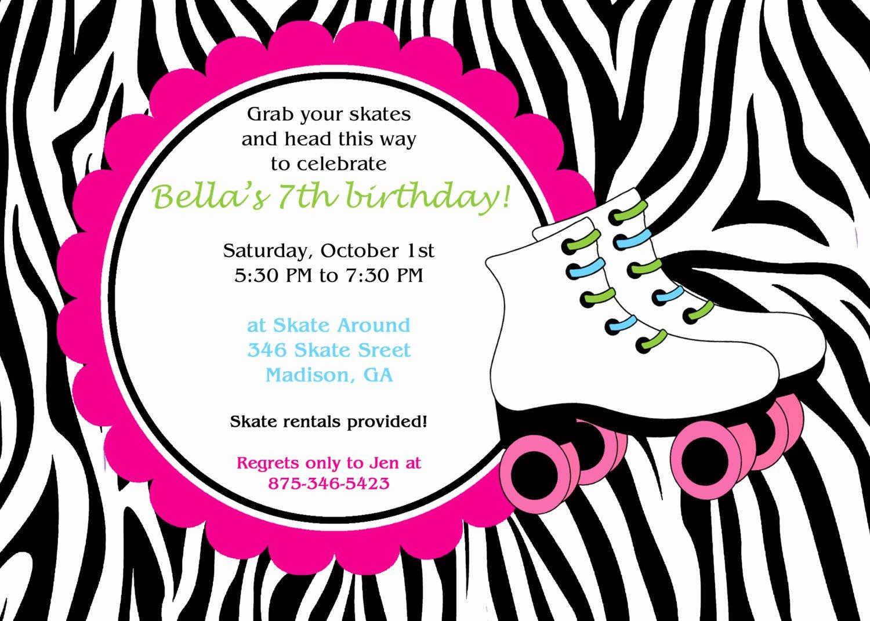 Free Printable Skating Party Invitations Awesome Printable Zebra Print Skate Party Invitation