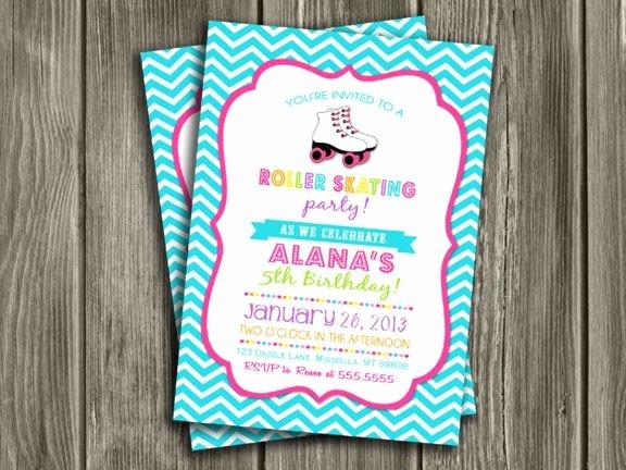 Free Printable Skating Party Invitations Beautiful Printable Chevron Roller Skating Birthday Invitation