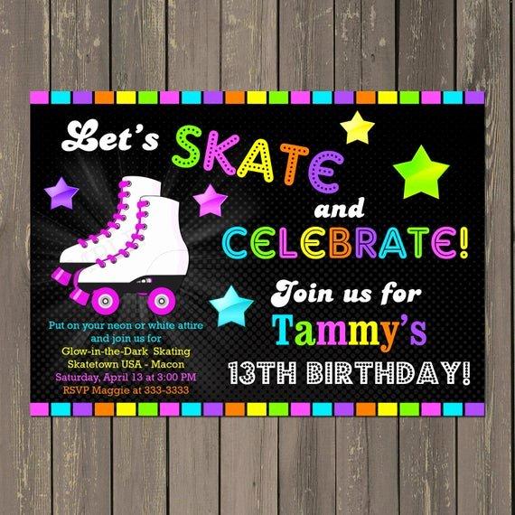 Free Printable Skating Party Invitations Beautiful Roller Skating Birthday Invitation Skate Party Invitation