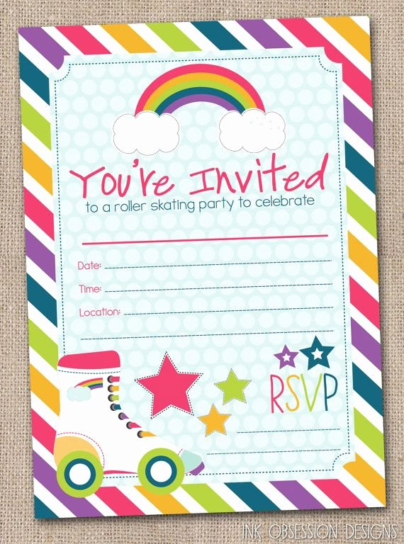 Free Printable Skating Party Invitations Best Of Fill In Roller Skating Party Invitations by
