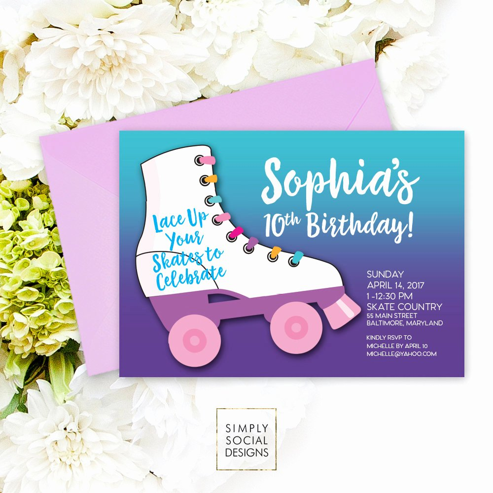 Free Printable Skating Party Invitations Best Of Roller Skating Birthday Party Invitation Purple Kids
