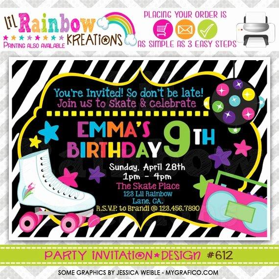 Free Printable Skating Party Invitations Fresh 612 Diy Zebra Print Skate Party Invitation Thank You