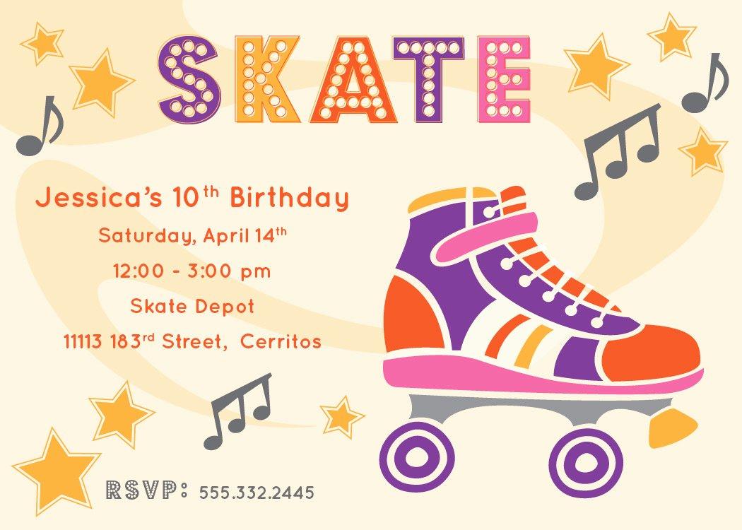 Free Printable Skating Party Invitations Fresh River & Bridge Retro Roller Skate Party Invitation