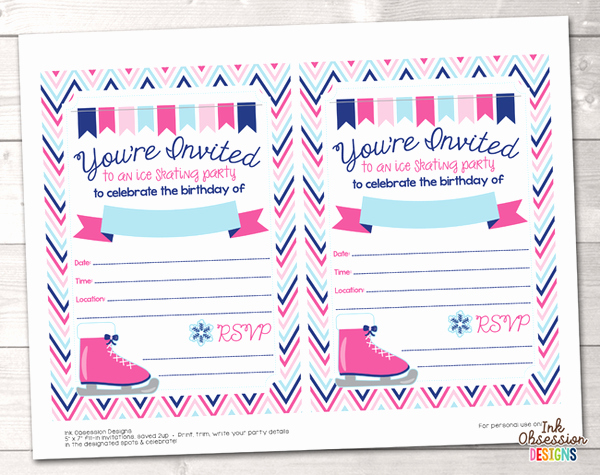 Free Printable Skating Party Invitations Inspirational Pink Ice Skating Party Printable Birthday Party Invitation