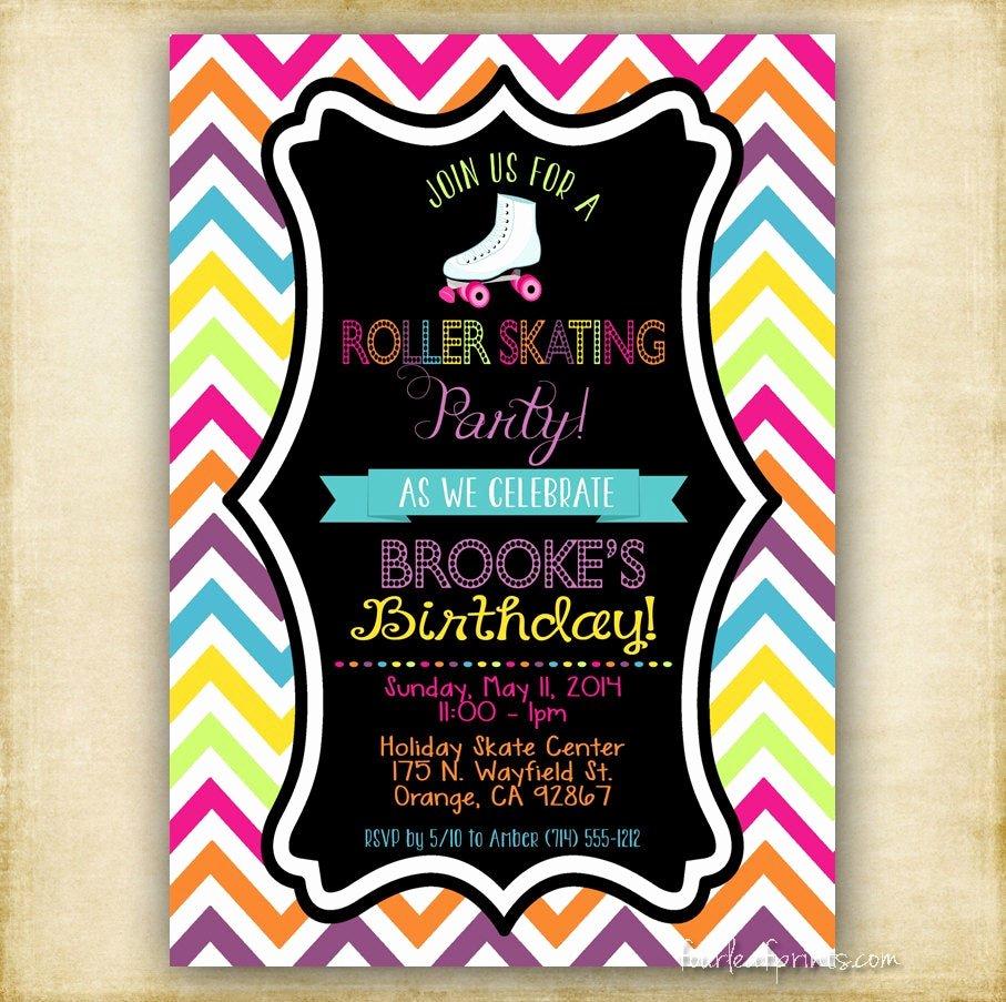 Free Printable Skating Party Invitations Lovely Roller Skate Party Invitation Printable Diy by Fourleafprints