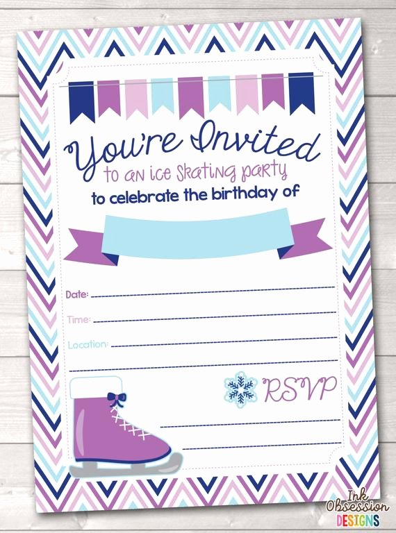 Free Printable Skating Party Invitations Unique Items Similar to Instant Download Ice Skating Birthday