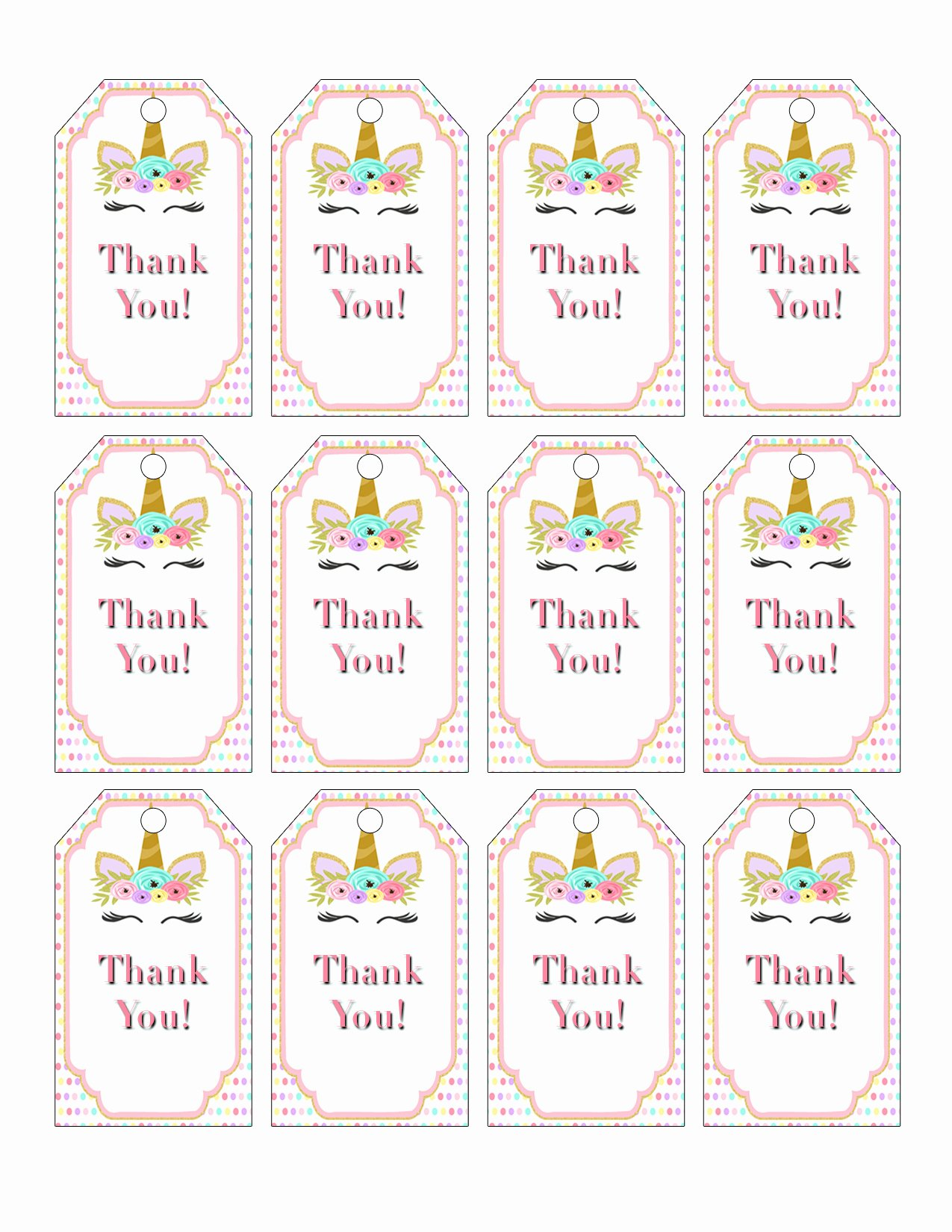Free Printable Thank You Tags Awesome Printable Unicorn Party Favor Tags for A Unicorn Birthday
