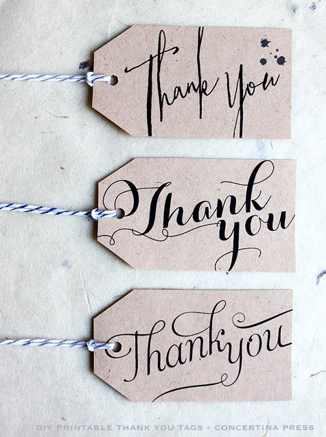 Free Printable Thank You Tags Inspirational Concertina Press Stationery and Invitations Diy