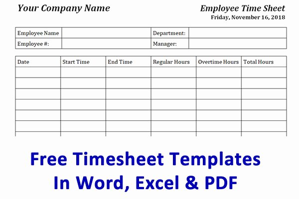 Free Printable Time Cards Awesome Free Timesheet Template & Time Card Template