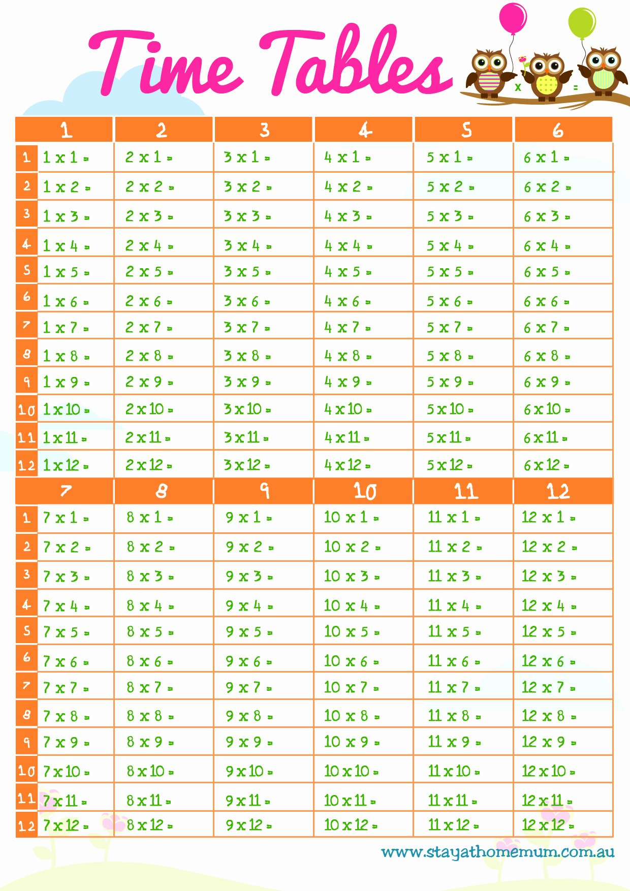 Free Printable Times Tables Beautiful Times Tables Free Printable Stay at Home Mum