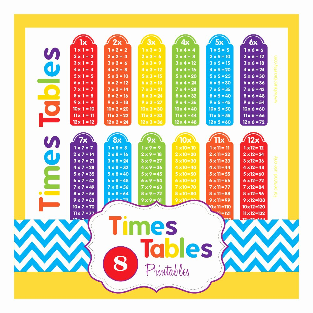 Free Printable Times Tables Lovely Multiplication Tables Times Tables 8 Printable Pages