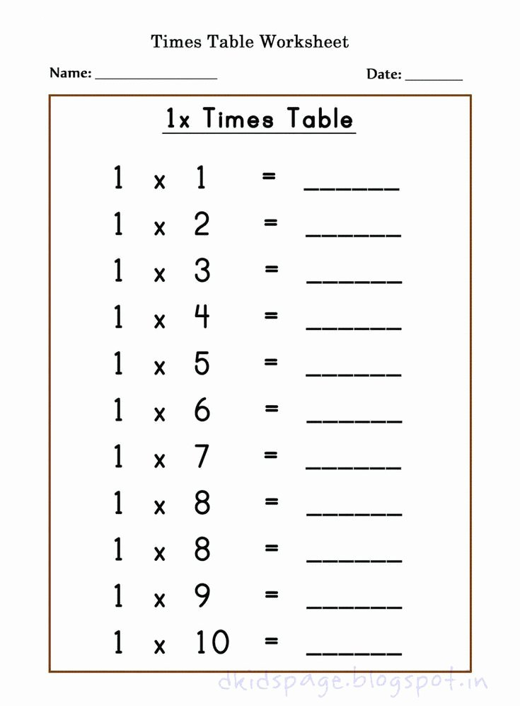 Free Printable Times Tables Worksheets Inspirational Kids Page Printable 1 X Times Table Worksheets for Free