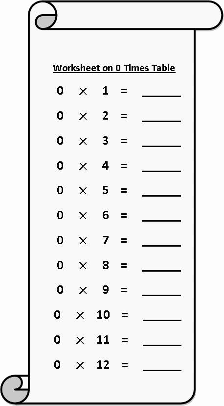 Free Printable Times Tables Worksheets Unique Worksheet On 0 Times Table