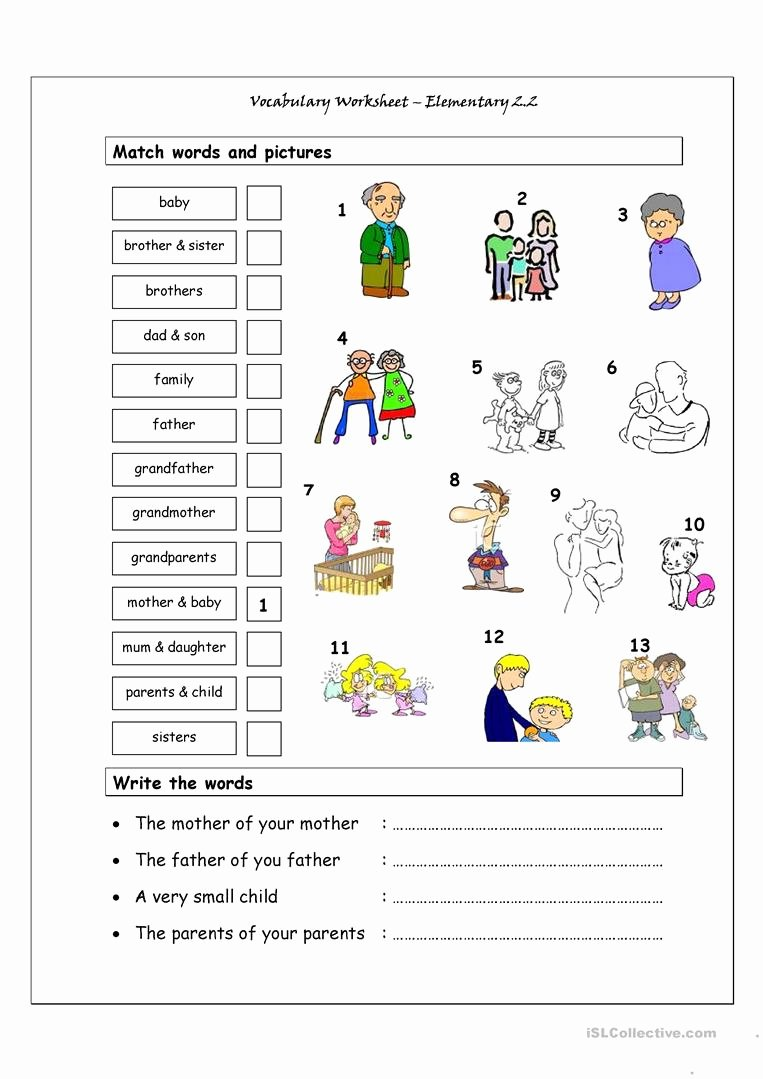 Free Printable Vocabulary Worksheets Awesome Vocabulary Matching Worksheet Elementary 2 2 Family