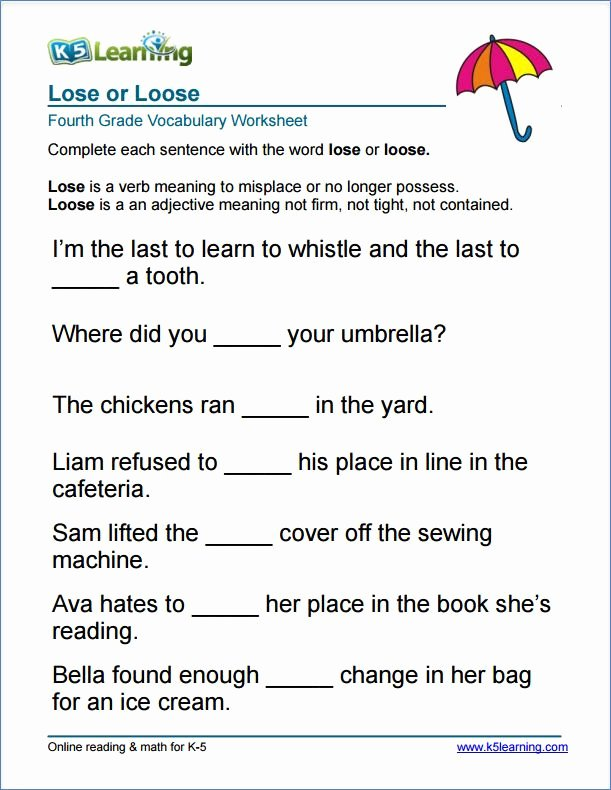 Free Printable Vocabulary Worksheets Beautiful Grade 4 Lose or Loose Vocabulary Worksheet