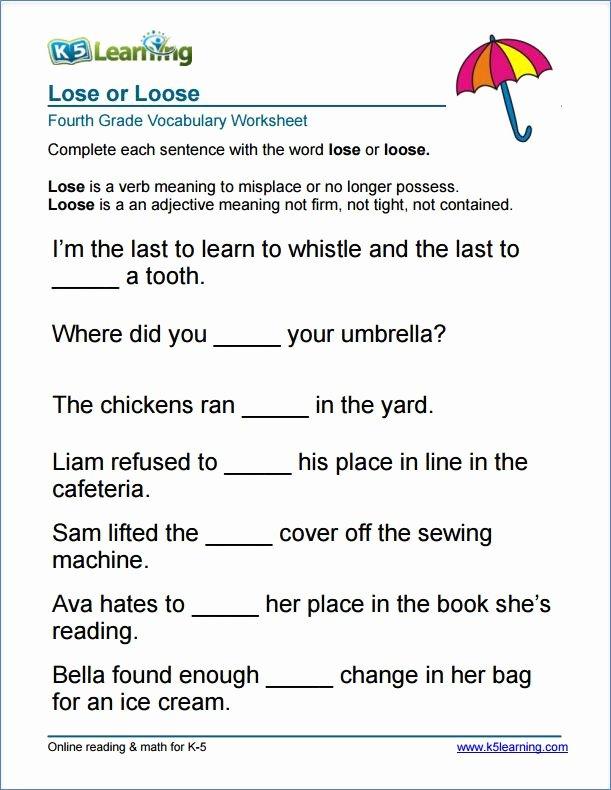 Free Printable Vocabulary Worksheets Beautiful Grade 4 Lose or Loose Vocabulary Worksheet