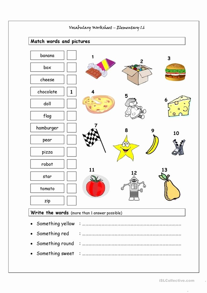 Free Printable Vocabulary Worksheets Best Of Vocabulary Matching Worksheet Elementary 1 6 Worksheet