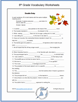 Free Printable Vocabulary Worksheets Fresh Sixth Grade Vocabulary Worksheets