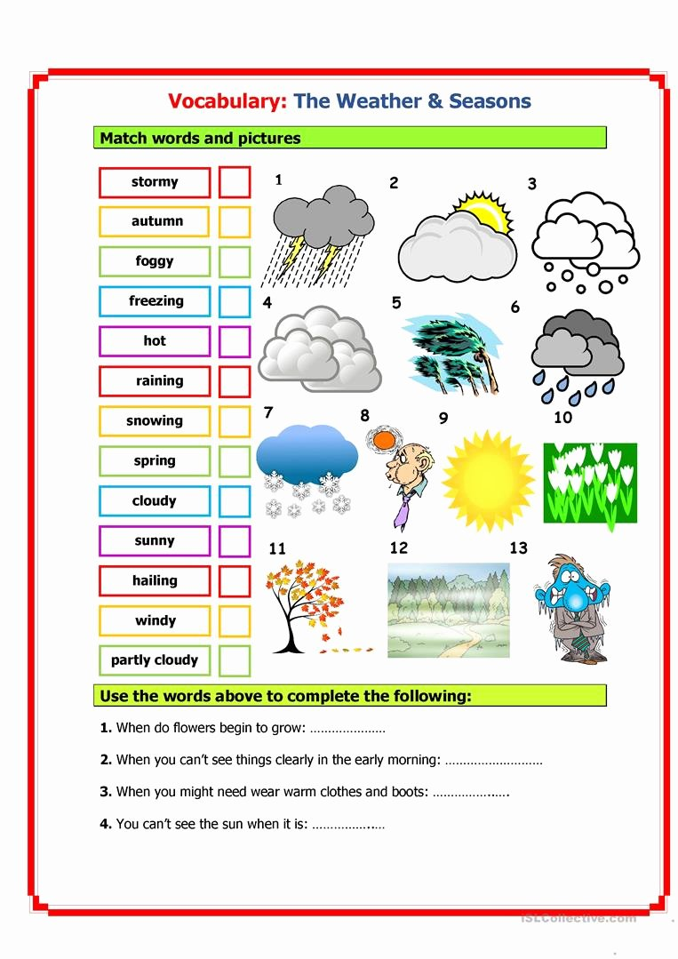 Free Printable Vocabulary Worksheets Fresh Vocabulary Weather & Seasons Worksheet Free Esl