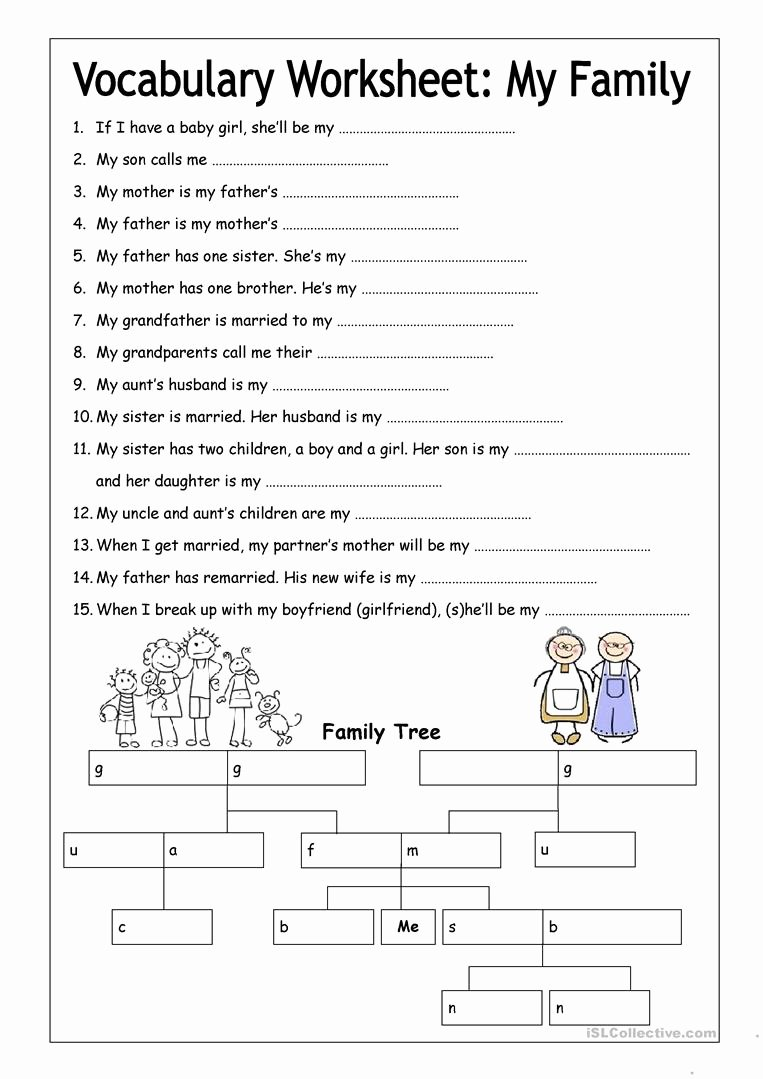 Free Printable Vocabulary Worksheets Luxury Vocabulary Worksheet My Family Medium Worksheet Free