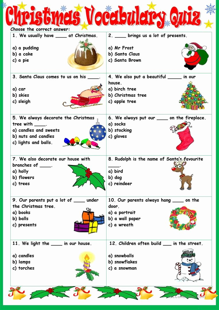 Free Printable Vocabulary Worksheets Unique Christmas Vocabulary Quiz Worksheet Free Esl Printable