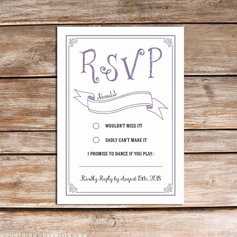 Free Printable Wedding Cards Elegant Vintage Rustic Diy Rsvp Card