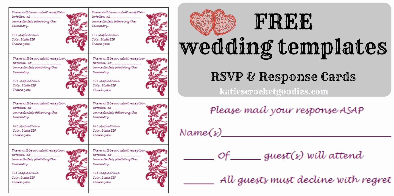 Free Printable Wedding Cards Luxury Free Wedding Templates Rsvp & Reception Cards Katie S