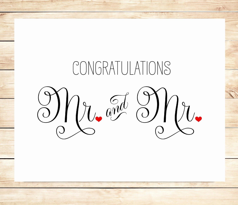 Free Printable Wedding Cards Luxury Printable Mr and Mr Wedding Card Gay Marriage Wedding Card