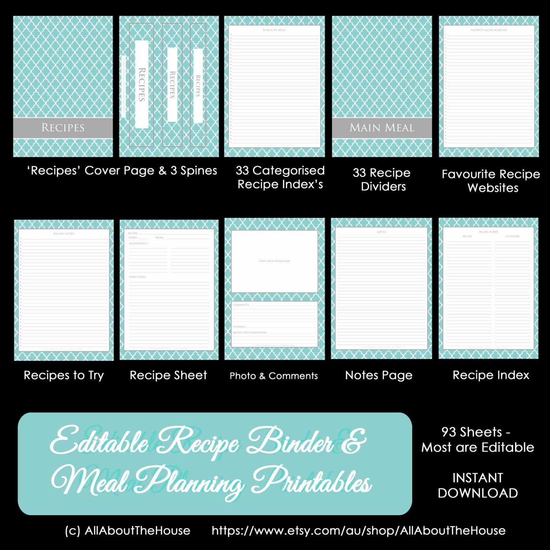 Free Recipe Binder Templates Inspirational Editable Recipe Binder Printables Meal Planning Recipe